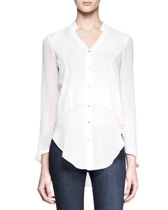 Lawn Buttoned Sheer-Panel Shirt