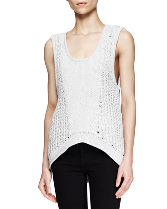 Sleeveless Arced Knit Top and Five-Pocket Skinny Jeans