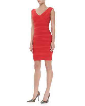 Patterned V-Neck Bandage Dress, Coral Poppy