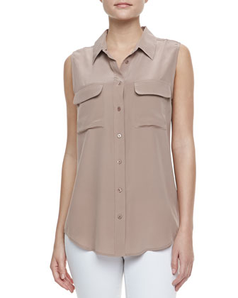 Sleeveless Slim Signature Blouse, Rosewood