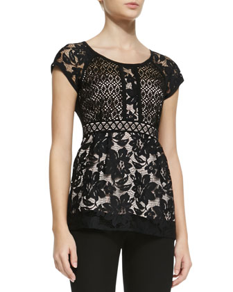 Kiss In The Dark Two-Tone Lace Top & Light Me Up Skinny Pants