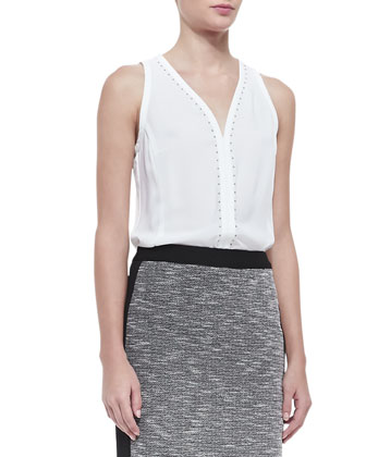 Lawless Stud-Trim Sleeveless Top, White