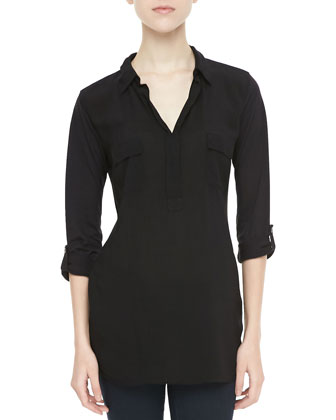Tab-Sleeve Shirt Tunic, Black