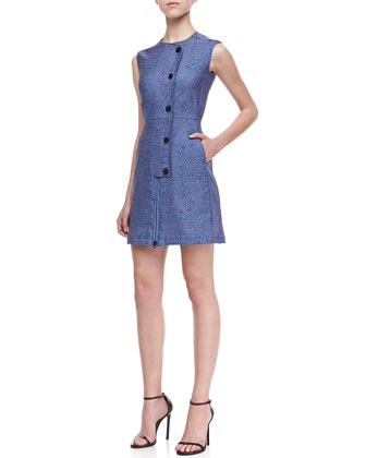 Rockie Jacquard Zip/Snap Dress