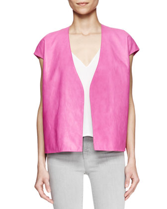 Eberhard Cap-Sleeve Leather Vest, Lucy Sheer-Back Top & Mid-Rise Skinny Jeans