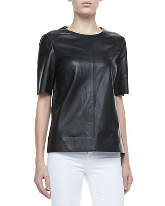 Clark Short-Sleeve Leather Top