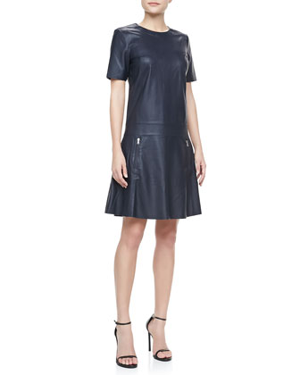 Lowe Short-Sleeve Leather Dress