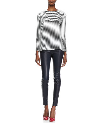Richey Short-Sleeve Striped Tee and Bartlett Slim Leather Pants