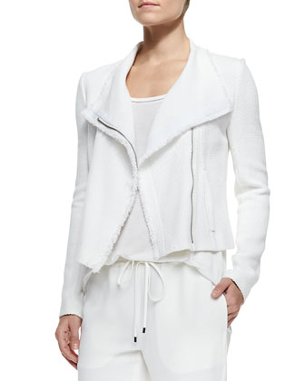 Frayed-Trim Textured Jacket, Trimmed Scoop-Neck Tee & Georgette Leather-Trim Sweatpants