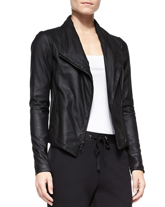 Scuba-Style Leather Jacket, Ribbed Favorite Tank & Leather-Trim Drawstring Sweatpants