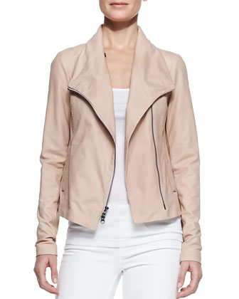 Leather Scuba Shawl-Collar Jacket, Blush