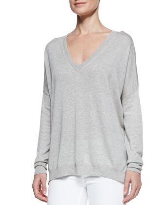Silk/Cashmere V-Neck Sweater, Heather Gray