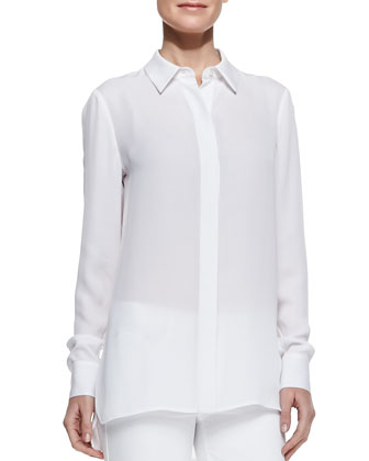 Georgette Button-Down Blouse, White