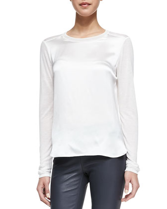Satin-Front Jersey Tee & Cropped Skinny Leather Leggings