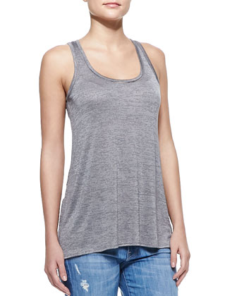 Draped Sleeveless Slub Tank
