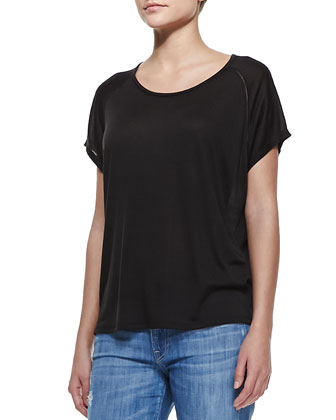 Stitch-Trim Jersey Tee, Black