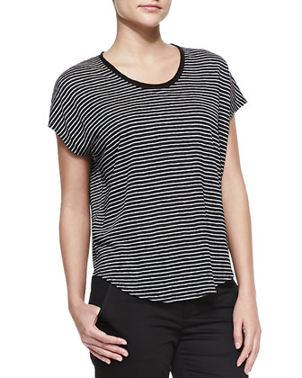 Striped Linen-Slub Top, Black