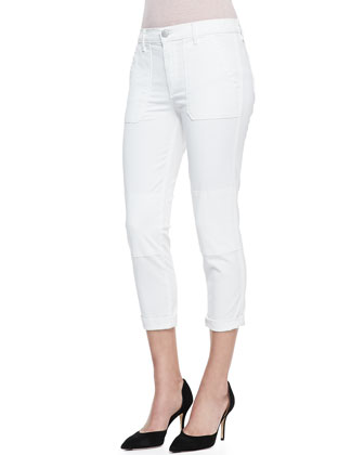 Military Rolled Trousers, White