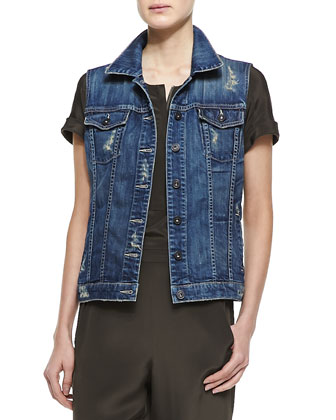 Alex Distressed Denim Vest & Short-Sleeve Satin Jumpsuit
