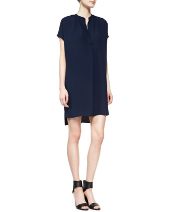 Short-Sleeve Popover Dress, Deep Indigo