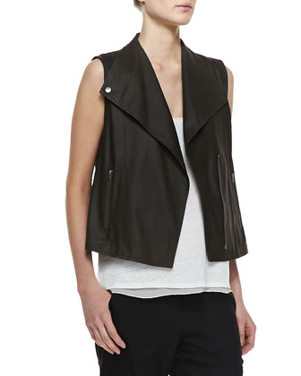 Lightweight Leather Zip Vest, Linen/Silk Layered Tank & Slim Cropped Cargo Pants