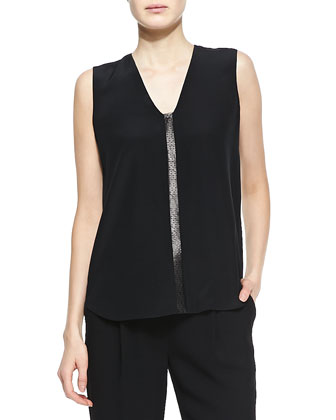 Leather-Front Silk Blouse, Black