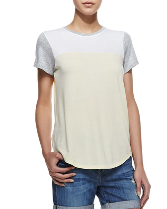 Colorblock Knit Short-Sleeve Tee, Yellow/Gray/White