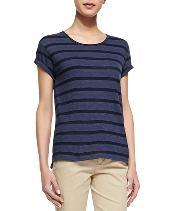 Striped Rolled-Sleeve Slub Top