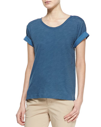 Rolled-Sleeve Cotton Tee, Ocean