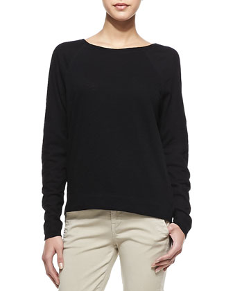 Long-Sleeve Cotton Tee, Black