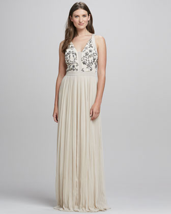 Sequin-Embellished Bodice Gown