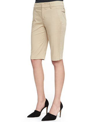 Side-Buckle Bermuda Shorts, Cinnamon