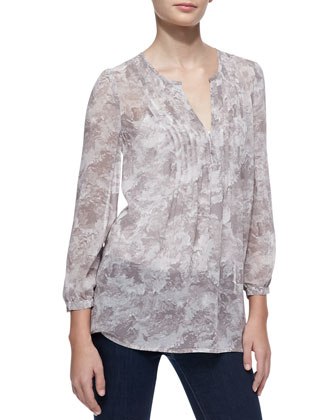 Carim Silk Bird-Print Blouse