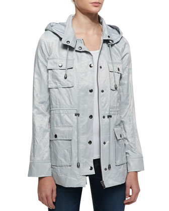 Vera Jane Hooded Jacket, Silver Fox