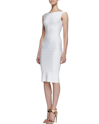 Boat-Neck Bandage Dress, Alabaster