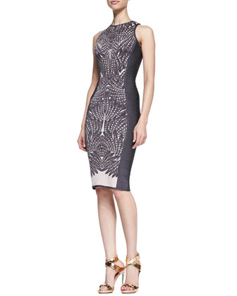 Feather-Print Sleeveless Banded Dress