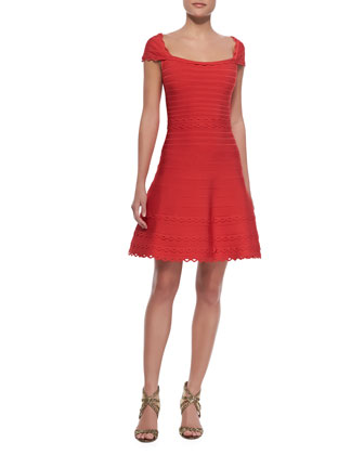 Cap Sleeve Scalloped Dress, Coral Poppy