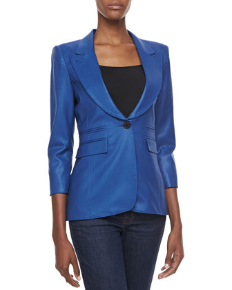 Wool Peaked-Label One-Button Blazer