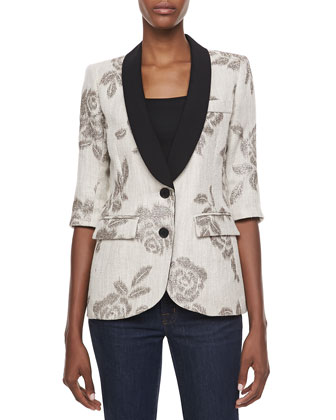 Dinner Metallic Rose Two-Button Jacket