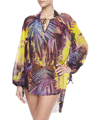 Palm Leaf-Print Long-Sleeve Coverup, Viola