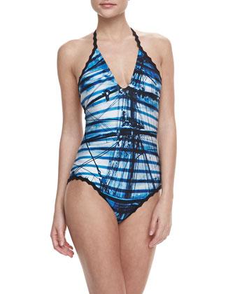 Cross Halter One-Piece Swimsuit