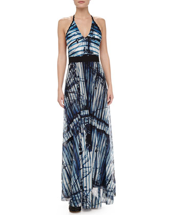 Merchant Ship-Print Coverup Maxi Skirt