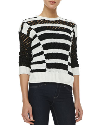 Intarsia Long-Sleeve Striped Knit Pullover