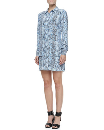 Lucida Snake-Print Long-Sleeve Silk Dress