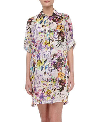 Cotton Floral-Print Shirtdress, White