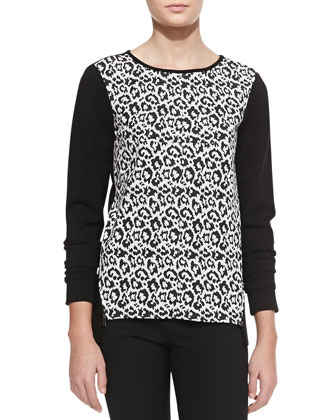 Long-Sleeve Leopard-Print Sweater