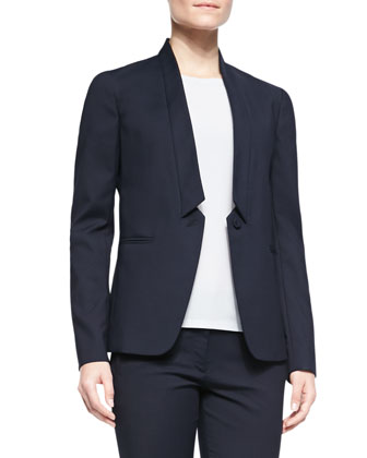 Marleybone Inverted-Collar One-Button Jacket, Navy