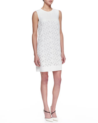 Lori Embroidered-Flower Shift Dress