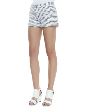 Delaunay Optic-Print Shorts, White/Black