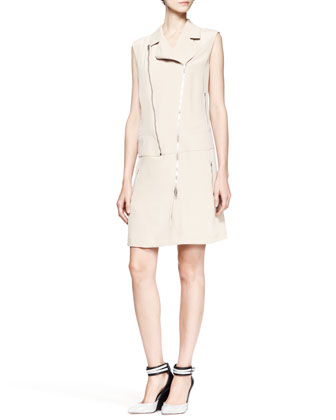 Hellen Sleeveless Zip Moto Dress